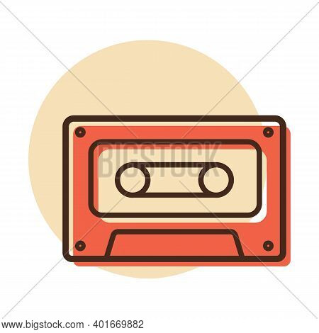 Audio Cassette Tape Vector Icon. Music Sign. Graph Symbol For Music And Sound Web Site And Apps Desi