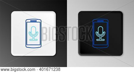 Line Mobile Recording Icon Isolated On Grey Background. Mobile Phone With Microphone. Voice Recorder