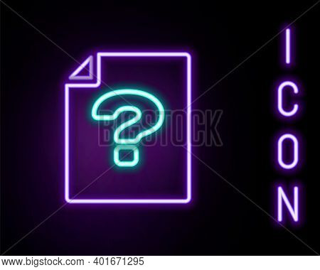 Glowing Neon Line Unknown Document Icon Isolated On Black Background. File With Question Mark. Hold