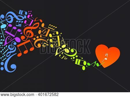 Valentine's Day. Colorful Musical Notes In The Form Of A Graceful Wave On A Black Background