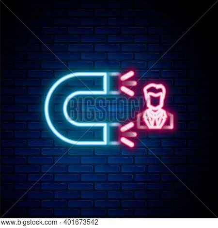 Glowing Neon Line Customer Attracting Icon Isolated On Brick Wall Background. Customer Retention, Su