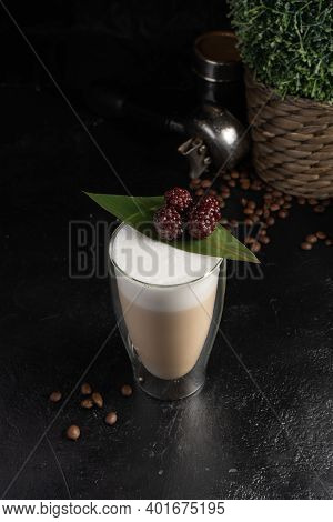 Blackberry Latte In A Transparent Two-layer Thermo Mug. Hot Drink Made From Coffee Or Cocoa, With Mi