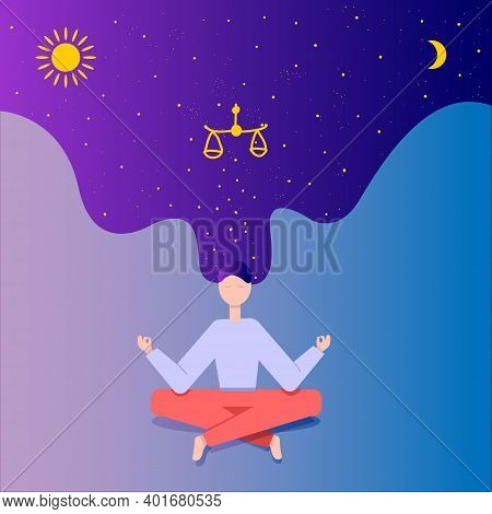 Harmony Of Soul And Body, Yoga. Vector Flat Illustration. There Is A Calm Girl, She Sits In The Lotu