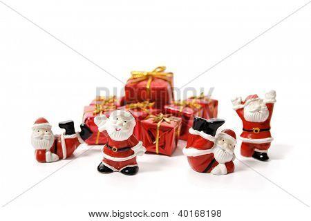 Santa team isolated on white background.
