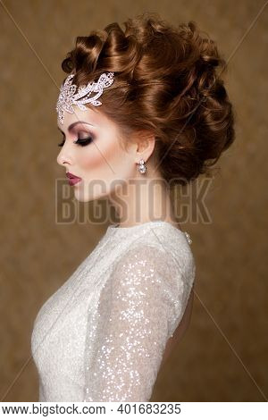Beautiful Wedding Hairstyle Of Woman. High Fashion Coiffure. Close Up Of Hairdo.