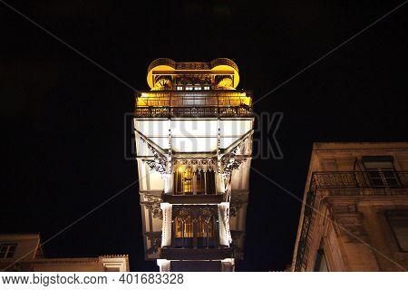 Lisbon, Portugal - 10 May 2015: Santa Justa Lift - The Elevator In Lisbon City At Night, Portugal