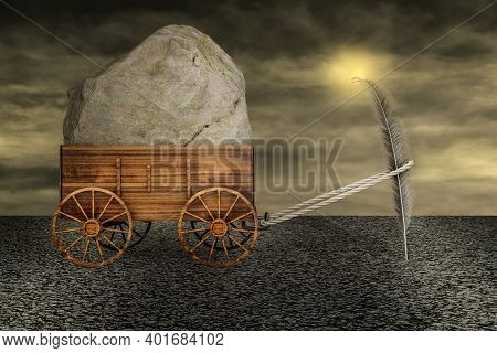 Feather Dragging A Farm Cart Of Big Heavy Stone On Asphalt In A Sunset Day. I Can Do It Or It Always