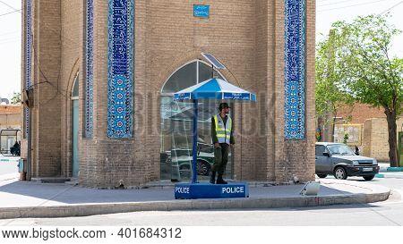 Yazd, Iran - May 2019: Iranian Traffic Police In The Streets. Traffic Warden