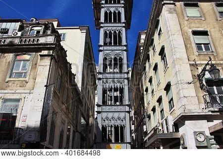 Lisbon, Portugal - 10 May 2015: Santa Justa Lift - The Elevator In Lisbon City, Portugal