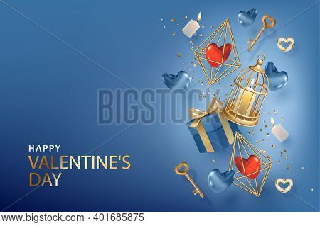 Realistic Valentines Banner. Elegant Background With A Golden Keys, Candles, Hearts And Birdcage