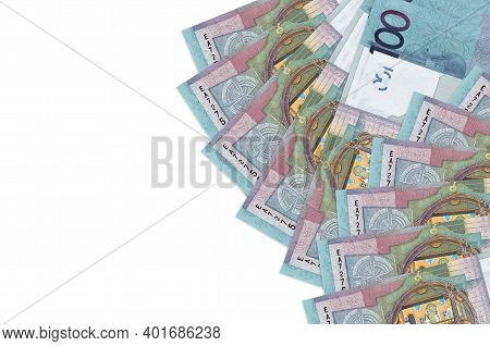 100 Belorussian Rubles Bills Lies Isolated On White Background With Copy Space. Rich Life Conceptual