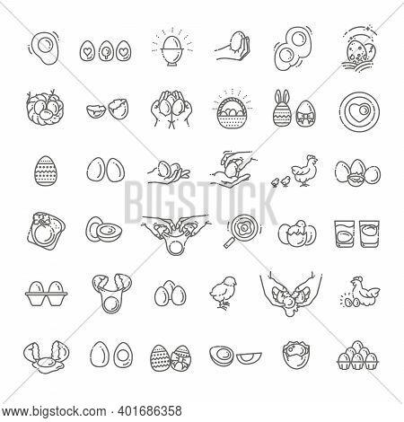 Eggs Icons Set. Broken Eggs With Cracked Eggshell