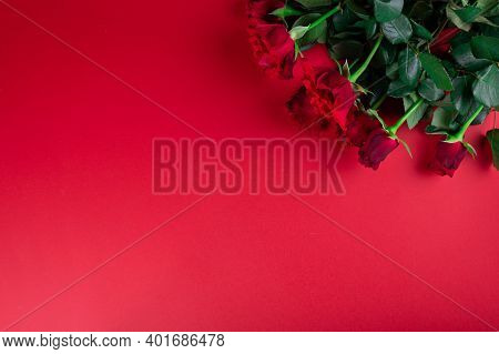 Red Roses On Red Background. Valentines Day Flatly. Romantic Flatlay. Women Present. Red Roses.