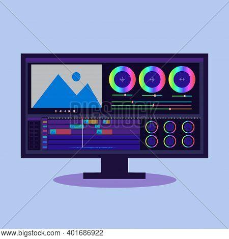 Color Grading Application Interface, Monitor, Digital Intermediate Icon Vector Illustration