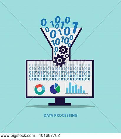 Data Processing Conceptual Template, Data Optimization Vector Illustration, Data Analytics, Binary C