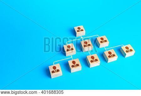 Traditional Schematic Visualization Of The Company Structure From Blocks With People. Business Perso