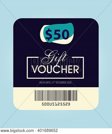 Gift Voucher, Fifty Dollar Gift Voucher Illustration, 50$, Gift Card Template With Gift Icon, Green