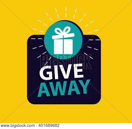Giveaway Card,  Poster Template Design For Social Media Post Or Website Banner, Give Away Illustrati
