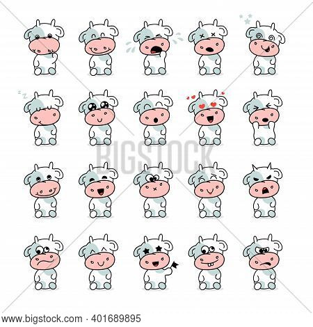 Bull Kid Emotion Vector Set, Emotion Collection, Love, Joy, Anger, Shame, Dream, Cry, Stupidity, Fea