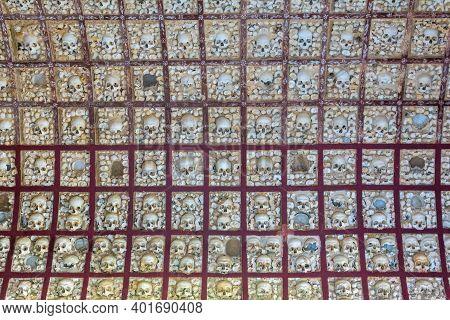 Faro, Portugal - 31 December 2020: Skulls And Bones Up Close In The Chapel Of Bones In Faro