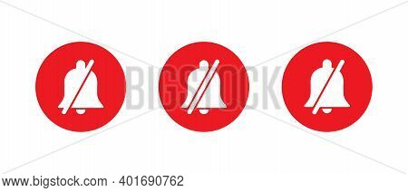 Silent Notification Bell Icon Vector In Flat Style. Mute Symbol Illustration