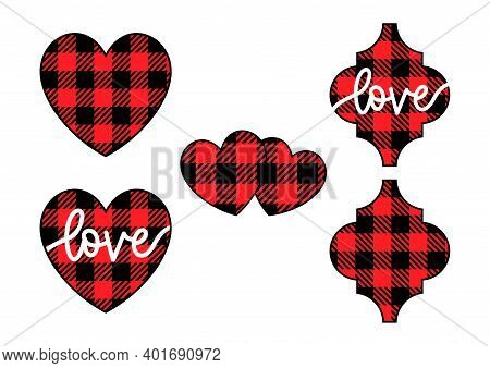 Vector Set Of Buffalo Plaid Valentines Day Elements Isolated On White. Heart, Hearts With Love, Arab