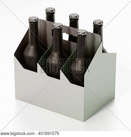 Six Pack Of Beer Isolated On White Background. 3d Illustration.