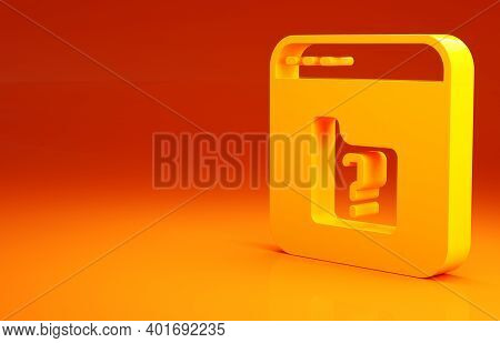 Yellow File Missing Icon Isolated On Orange Background. Minimalism Concept. 3d Illustration 3d Rende
