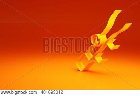 Yellow Sniper Optical Sight Icon Isolated On Orange Background. Sniper Scope Crosshairs. Minimalism