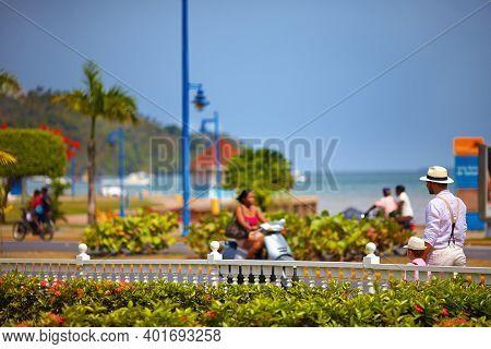 Casual Caribbean Street Life Of Santa Barbara De Samana, Dominican Republic