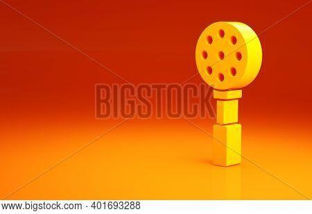 Yellow Spatula Icon Isolated On Orange Background. Kitchen Spatula Icon. Bbq Spatula Sign. Barbecue