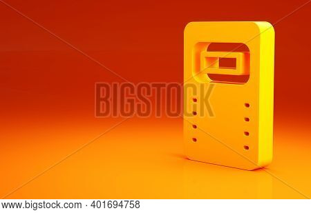 Yellow Police Assault Shield Icon Isolated On Orange Background. Minimalism Concept. 3d Illustration