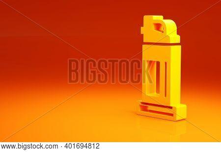 Yellow Pepper Spray Icon Isolated On Orange Background. Oc Gas. Capsicum Self Defense Aerosol. Minim