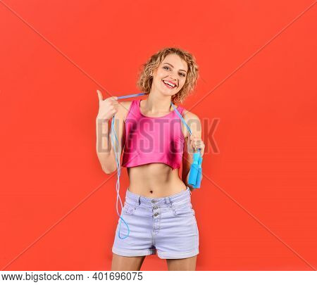 Woman With Jumping Rope. Sport At Home. Cardio Workout. Skipping Rope. Girl With Jumping Rope.
