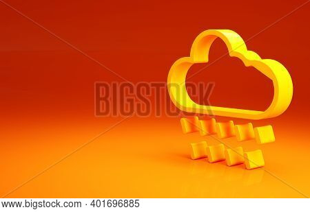 Yellow Cloud With Rain Icon Isolated On Orange Background. Rain Cloud Precipitation With Rain Drops.