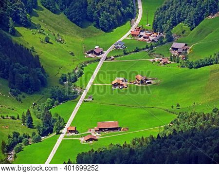 Alpine Pastures And Grasslands Over The Iberig Region And On The Slopes Of The Schwyz Alps Mountain