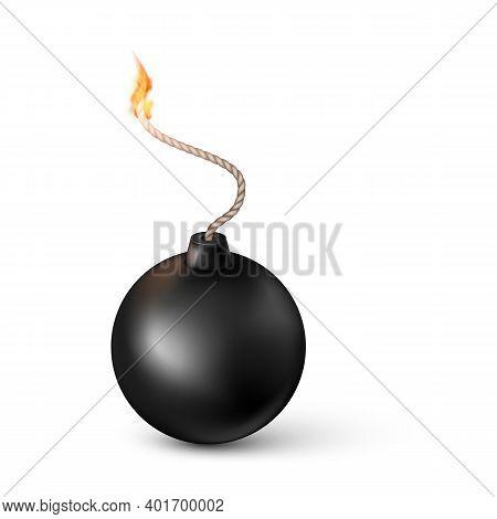 Realistic Bomb. Burning Fuse Black Bomb. Vector Illustration