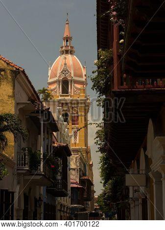 Postcard Panorama Of Cartagena De Indias Cathedral Church Basilica Santa Catalina De Alejandria Cari