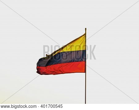 Colombian National Flag Waving In Wind Bastion Of Santo Domingo Fortress City Wall In Cartagena De I