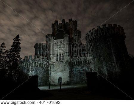 Middle Ages Medieval Castle Historical Building Castillo De Butron Butroeko Gaztelua Illuminated At