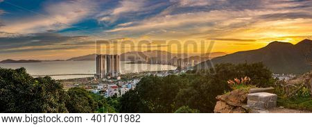 Sunset view of Nha Trang city from the mountain, Vietnam. Panorama