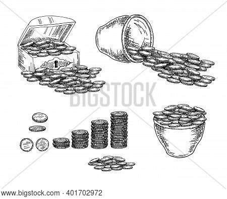 Chest With Coins, Pot With Coins. Sketch. Treasure Chest Sketch Style Vector Illustration. Old Hand