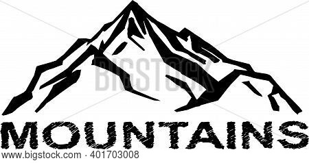 Vintage Badge Of Mountain Expedition Adventure Logo. Mountain Shapes For Logos.
