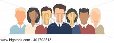 Young Happy Multicultural People Set. Human Heads Vector Illustration Collection. Diverse Business M