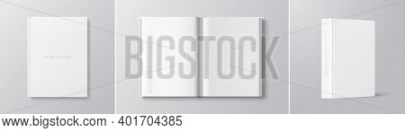 Vector White Book Mockup Set - Cover, Spread, Spine. Realistic Blank Book In Hardcover In Different