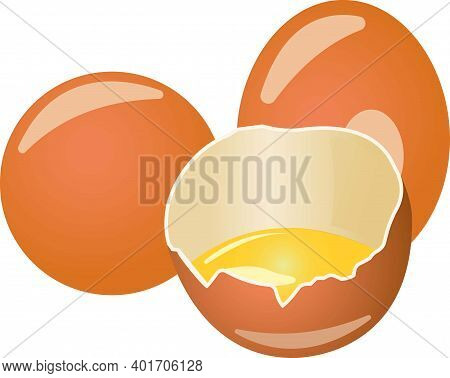 Three Brown Eggs With Yolk. Vector Illustration Isolated On White Background.