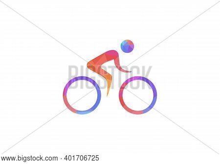 Man Cycling Vector Icon Flat Style Illustration. Man Cycling Vector Icon Simple Sign And Modern Symb