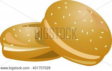 Two Sesame Seed Burger Buns. Vector Illustration.
