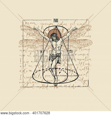 Abstract Hand-drawn Banner With Jesus Christ With Dragonfly Wings And Geometric Figures On The Backg