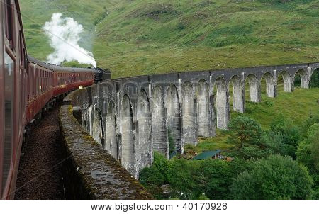 the Glenfinnan Viaduct in Scotland with the Jacobite steam train on it scenery seen from steam train poster